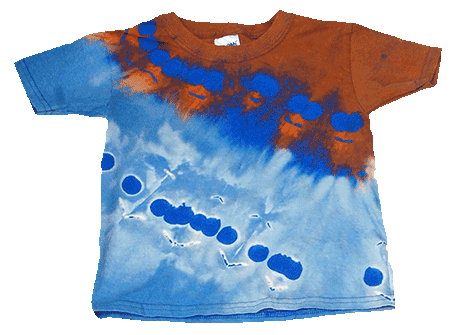 Blue Blazes, Thiox (top) and bleach (bottom) discharge on Royal (blue) Gildan Toddler Tee