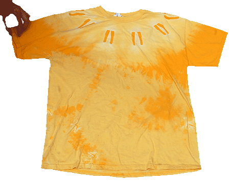 Monoliths in the Sun, bleach (top) and Thiox (bottom) discharge on Gold Gildan 2000 Tee