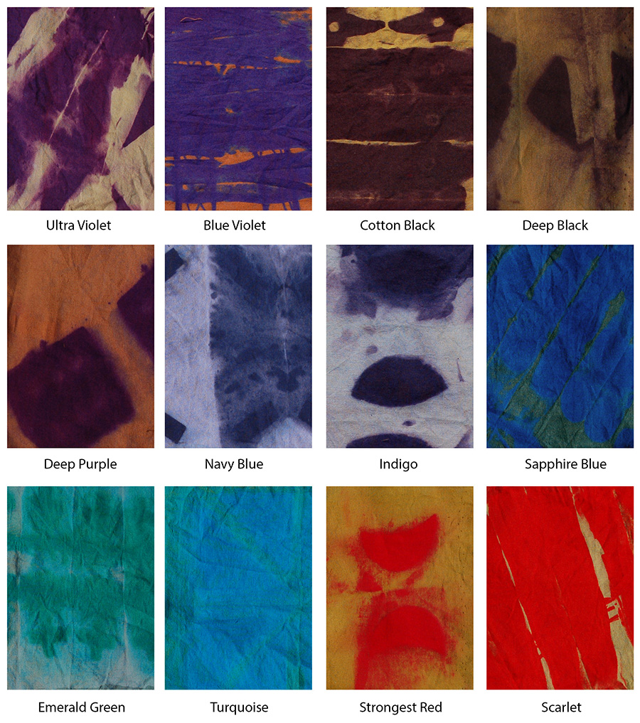 Close ups of the effect of thiourea dioxide on fabric dyed with Procion fiber-reactive dyes